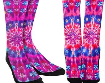 Tie Dye Crew Socks - Tie Dye Socks -Cute Socks - Unique Socks -Novelty Socks -1 00% Polyester Socks for Maximum Comfort - FREE Shipping