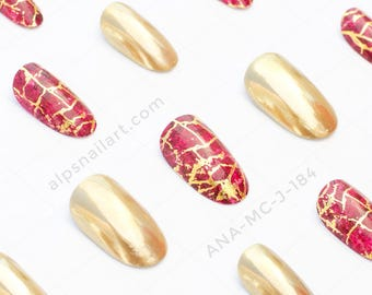 Press On Nails - Golden Mirror nails-Marble nails- Glue On nails - Faux Nails - Chrome nails- false nails - Free International Shipping