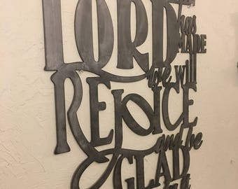 Metal scripture wall art, Psalm 118:24