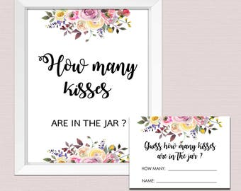 How many kisses in the jar, Floral How Many Kisses, Bridal Shower Game, how many kisses sign, watercolor flowers INSTANT DOWNLOAD pdf BL2