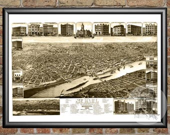 St. Paul, Minnesota Art Print From 1883 - Digitally Restored Old St. Paul, MN Map Poster - Perfect For Fans Of Minnesota History