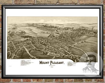 Mount Pleasant,Pennsylvania Art Print From 1900-Digitally Restored Old Mount Pleasant,PA Map Poster-Perfect For Fans Of Pennsylvania History