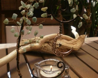 Tree of life copper wire candle holder decorated with turquoise