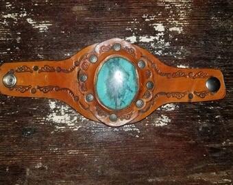 Southwestern Style Leather & Turqouise Bracelet.