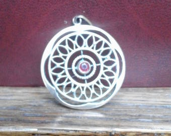 Belle Epoque round plated gold openwork with a red stone pendant