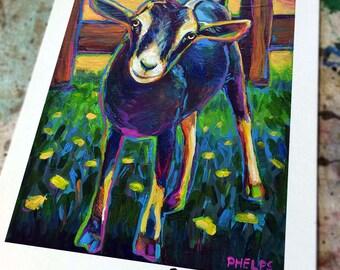Colorful FARM GOAT Art Print by Robert Phelps--Goat, Goats, Gift for Goat Lovers, Goat Gift, Goat Art Print, Goat Painting, farm animals