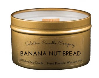 Banana Nut Bread Gold Tin Soy Candle | 5 oz | Travel Tin | Wood Wick | All Natural | Hand Poured | Home Decor