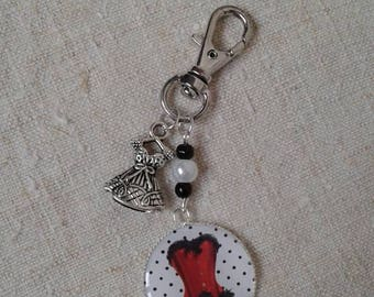 """little red corset dress"" keyring"