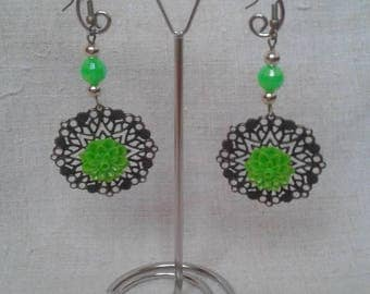 print and Green Flower Earrings
