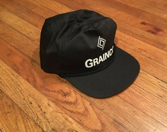 Vintage - Black Snapback Baseball Cap/Hat with white GRAINCO Logo - One Size Fits All