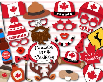 Printable Canada Day Party Photo Booth Props, Canada Travel Party Photo Booth Props, Printable Happy Canada Day Photobooth Props 0100