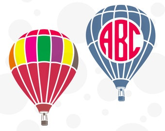 Hot air balloon SVG, SVF file,  Balloon monogram svg, Hot air ballon,