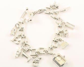 Vintage Burberry Charm Bracelet 925 Sterling BR 294-E