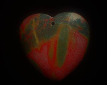 Natural Picasso Jasper Pendant Natural Stone  Red Green Stone Pendant Heart Pendant Bead 40*40*6mm