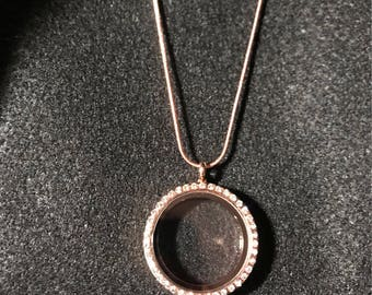 Rose gold living locket necklace