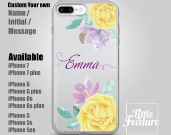 Yellow rose garden Personalised phone case,Clear phone case iPhone 7, iPhone 7plus, iPhone 6, 6s, iPhone 5/5S Customise Name / Initials gift