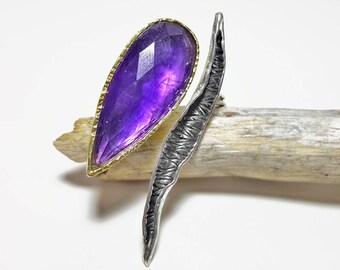 Amethyst Ring Silver, February Birthstone Ring, Teardrop Ring Silver, Purple Gemstone Ring, Unique Amethyst Ring, Large Amethyst Ring