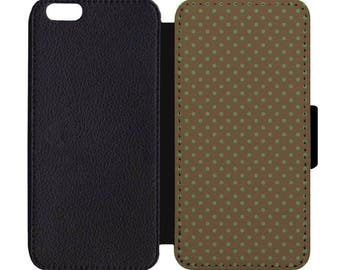 Polka Dot Print Black Leather Wallet Flip Phone Case Cover Apple iPhone 5 5S 6 6S 7 7S 8 8S X Plus +