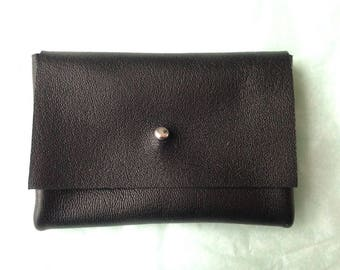Wallet black leather, silver clasp