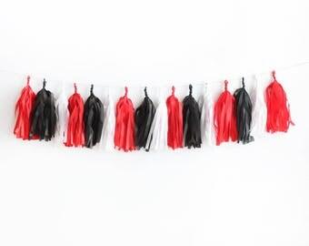 Black, White & Red Tissue Tassel Garland Kit