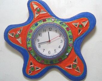 """""""South Sea"""" wall clock diameter 64 cm painting and mosaic for your home wall decoration"""