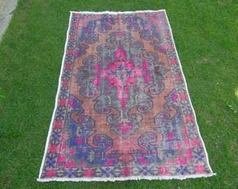 Tribal Rug, Anatolian Rug, Turkish Oushak Rug, Cappadocia Rug, Turkish Carpet, Distressed Rug, Handmade Rug