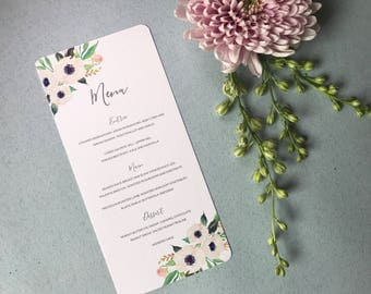 Printable Wedding Menu - Floral Pastel Wedding Menu Card - PDF Download