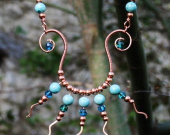 Copper necklace, ethnic necklace, aztec necklace, tribal necklace, hammered, blue, stone, beads, crystal, wire wrapped, leather cord,