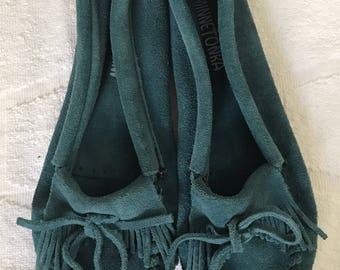 Turquoise leather Minnetonka  moccasins size 7
