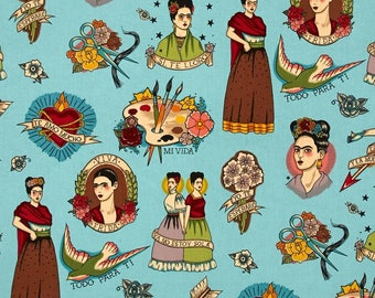 All for you, blue. Patchwork fabric. Quilting. Cotton fabric. Alexander Henry's fabric. Frida's fabric. Mexican fabric. Sewing Fabric