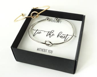 Bridesmaid Gift Set , Bridesmaid gift , Love Knot Bracelet, Tie the Knot Bracelet , Knotted , Gold / Silver Knot Bridesmaid Proposal Box Set