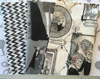 set black and white patchwork fabrics GHASTLIES FAMILY by ALEXANDER HENRY FABRICS