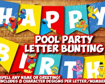 Printable Sesame Street Pool Party Birthday Decoration / Sesame Street Banner Decor Instant Digital Download for Pool Swimming Party Elmo
