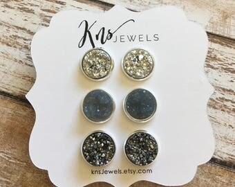Druzy Earrings, Earring Trio, 12mm Studs, Earrings, Summer Earrings, Studs