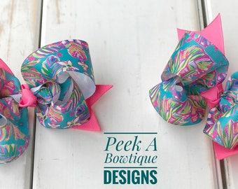 Pig tail bows, Summer hair bow, floral hair bow, lilly Pulitzer hair bow, lilly puliter bow, m2m, lilly bow, big hair bow, girls hair bow,