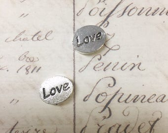 2pcs Antiqued Silver Double-sided Metal LOVE Connector,