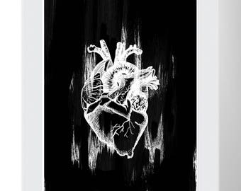 Black and White Heart Painting Wall Art Print