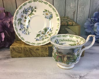 Royal Albert Oxfordshire English Country Cottages Series Teacup and Saucer Vintage Fine Bone China England Made