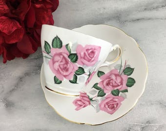 Pink Roses by Regency Teacup and Saucer Set Vintage Fine Bone China England Made