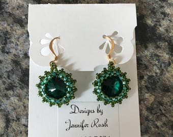 Beaded Rivoli Earrings - Two-toned Green