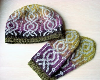 hat and mittens set , knitted hat , mittens knitted , knitted jacquard