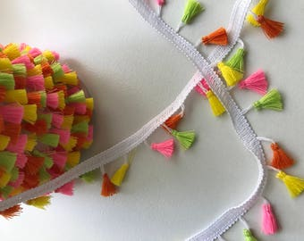Tassel fringe trim , bright and fun summer colours, fun sewing trim, sewing inspiration, neon, cushion tassels, on trend