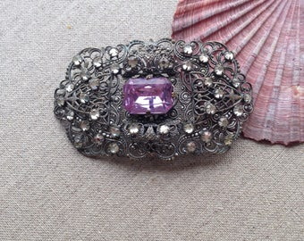 Vintage large filigree brooch - perfect for bridal