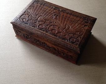 Vintage carved wood jewellery box