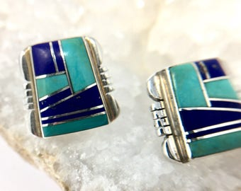 Signed Sterling Silver Earrings with Turquoise and Lapis Lazuli Inlay