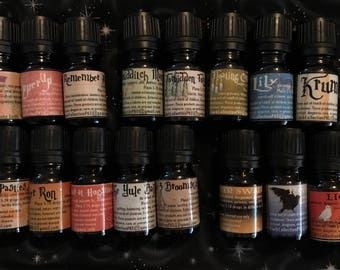 Harry Potter inspired Seasonal Diffuser Essential Oil Blends, Gryffindor, Hufflepuff, Ravenclaw, and Slytherin, diffuser necklace