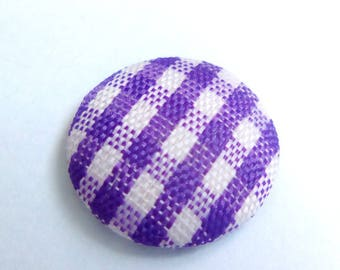 Purple gingham fabric cabochon 14mm