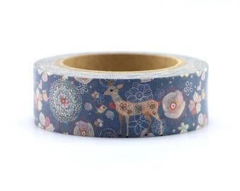 Washi Tape - Decorative Tape - Paper Tape - Planner Tape - Christmas Washi Tape - Floral Reindeer Washi - Deco Paper Tape - Planner Washi