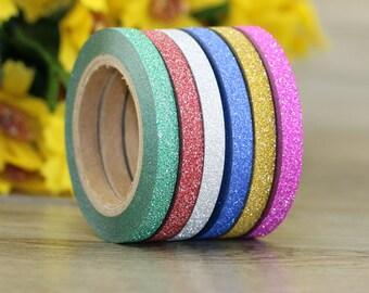 Skinny Washi Tape - Glitter Washi Tape - Decorative Tape - Paper Tape - Planner Tape -  Deco Paper Tape - Planner Washi