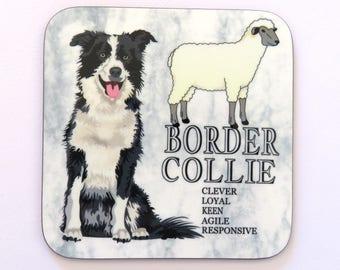 Border Collie Coaster, Drinks Coaster, Border Collie Gift